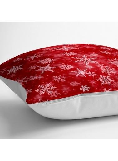 Real Homes Kırmızı Zeminde Kar Taneleri Dekoratif Yer Minderi - 70 x 70 cm Renkli